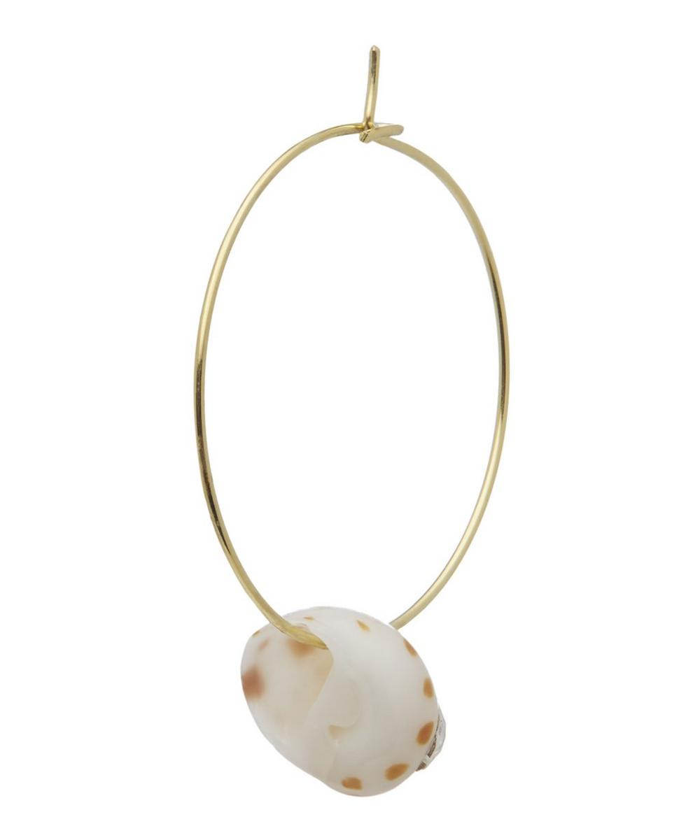 Gold-Plated Juicy Small Crystal Shell Hoop Earring