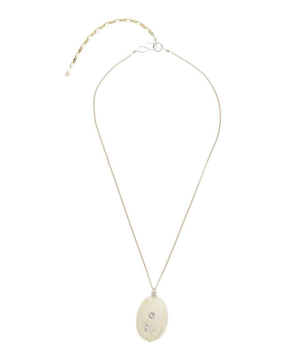 Gold-Plated So Far To Go Crystal Shell Necklace