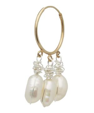 Gold-Plated Chouchou Baroque Pearl Hoop Earring