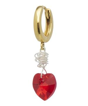Gold-Plated Sweet Love Small Crystal Heart Drop Earring