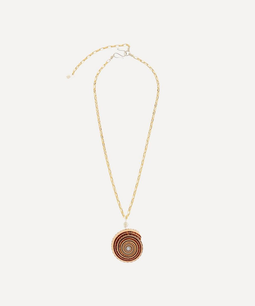 Gold-Plated Gin and Juice Crystal Shell Necklace