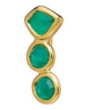 Gold Vermeil Siren Green Onyx Single Climber Earring Left