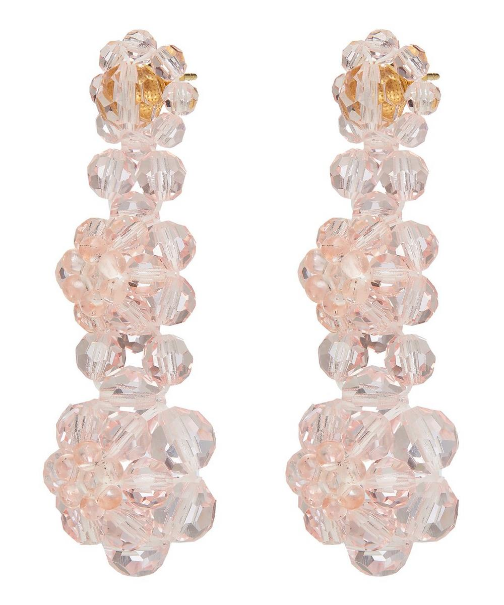 Three Tier Floral Beaded Drop Earrings