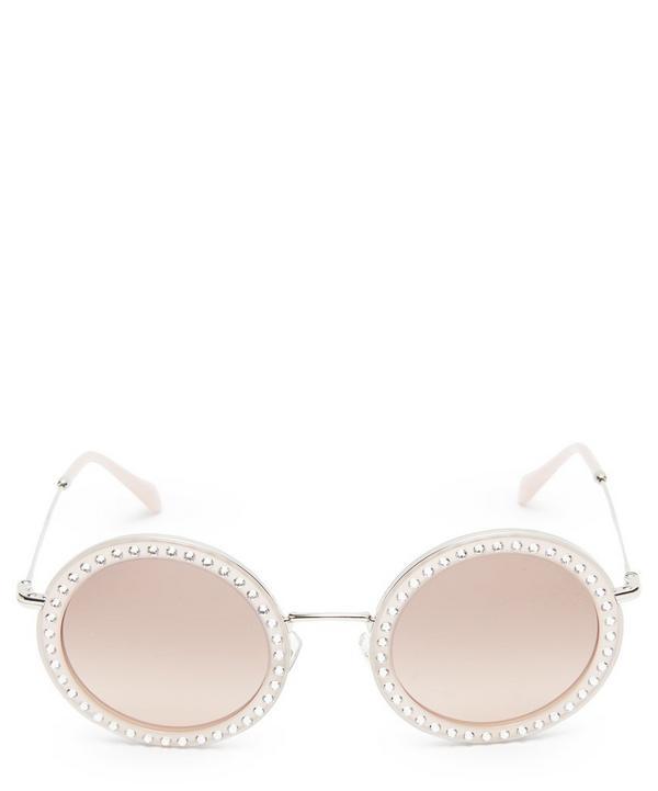 Oversized Round Crystal Sunglasses
