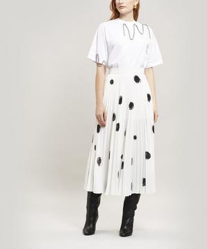 Dot Print Pleated Skirt