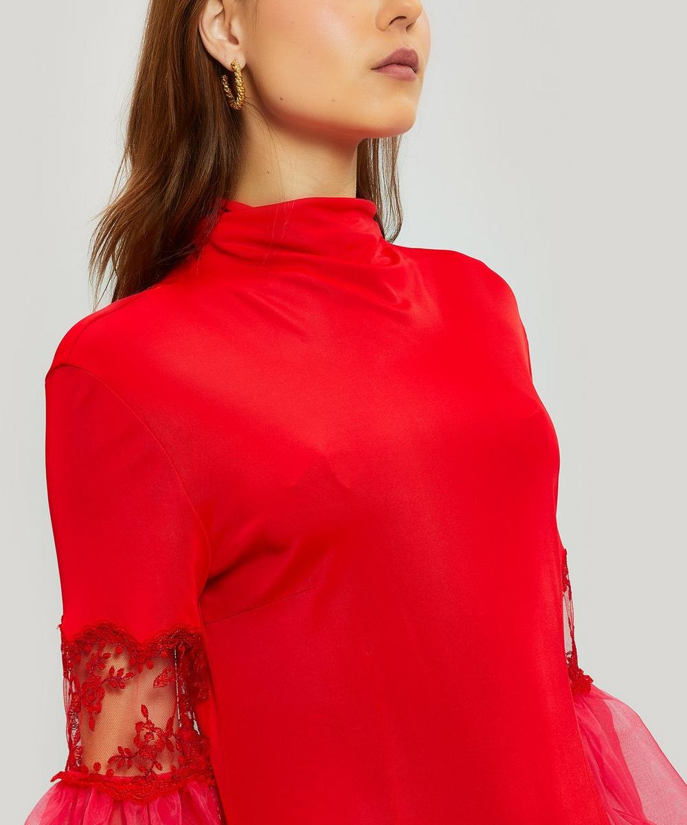 Mesh Sleeve Jersey Dress