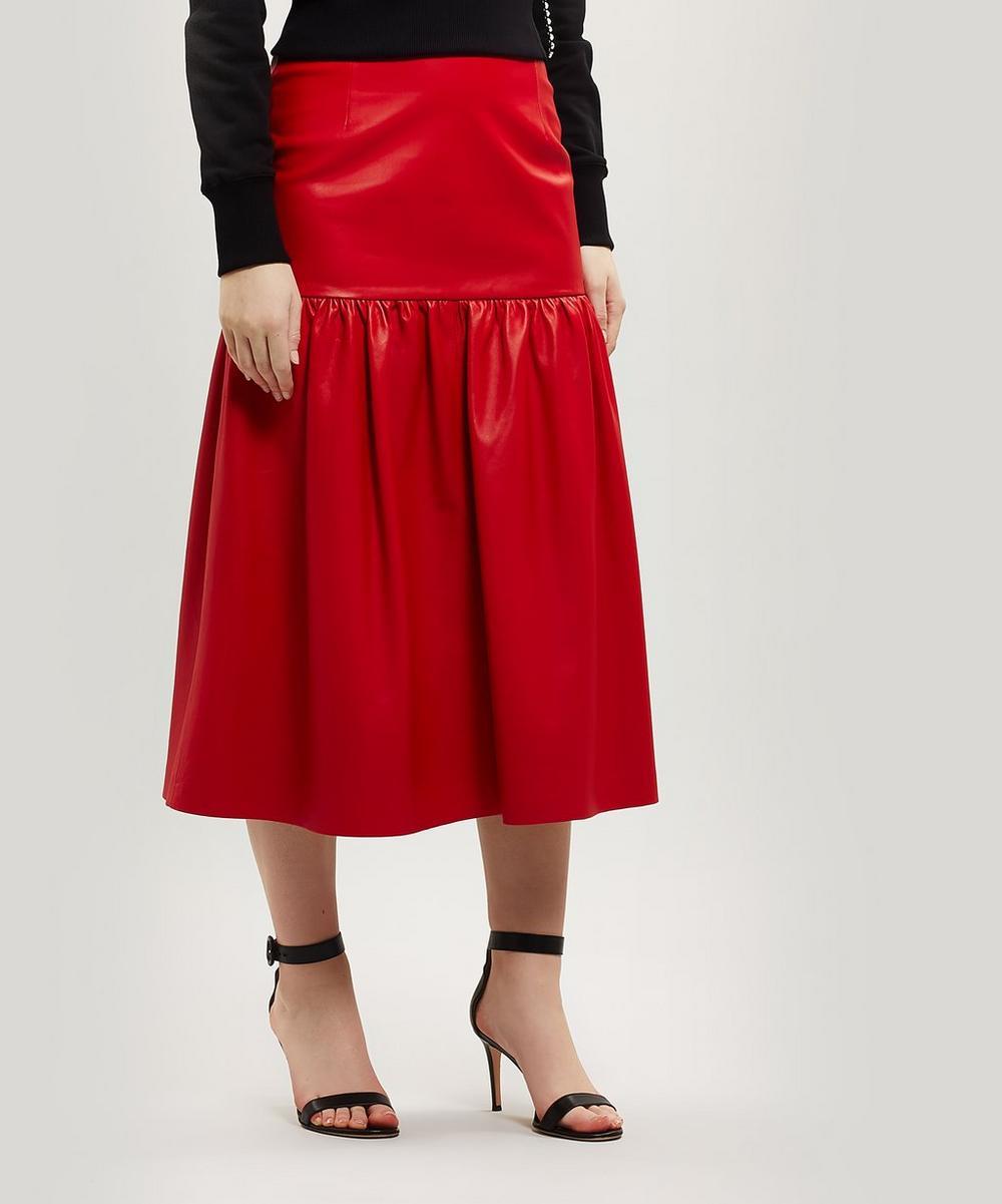 Gathered Leather Skirt