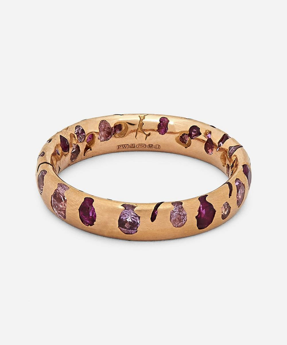 Polly Wales Rose Gold Pink Sapphire Confetti Ring