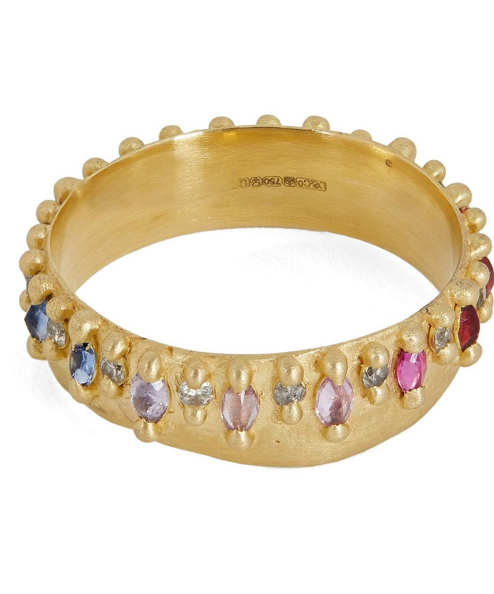 Gold Noelle Rainbow Sapphire and Diamond Ring