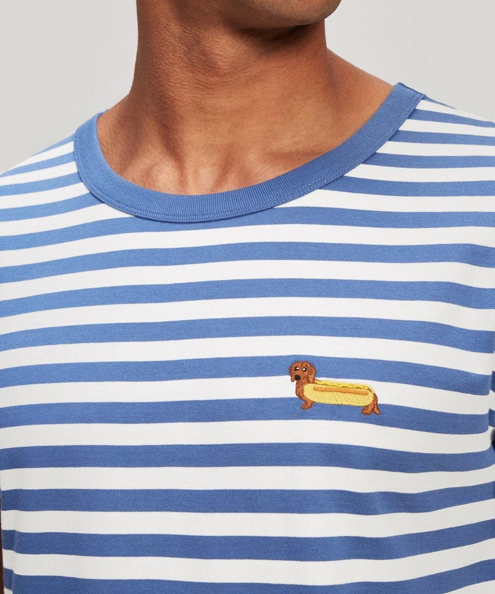 Wiener Dog Embroidered Striped Cotton T-Shirt