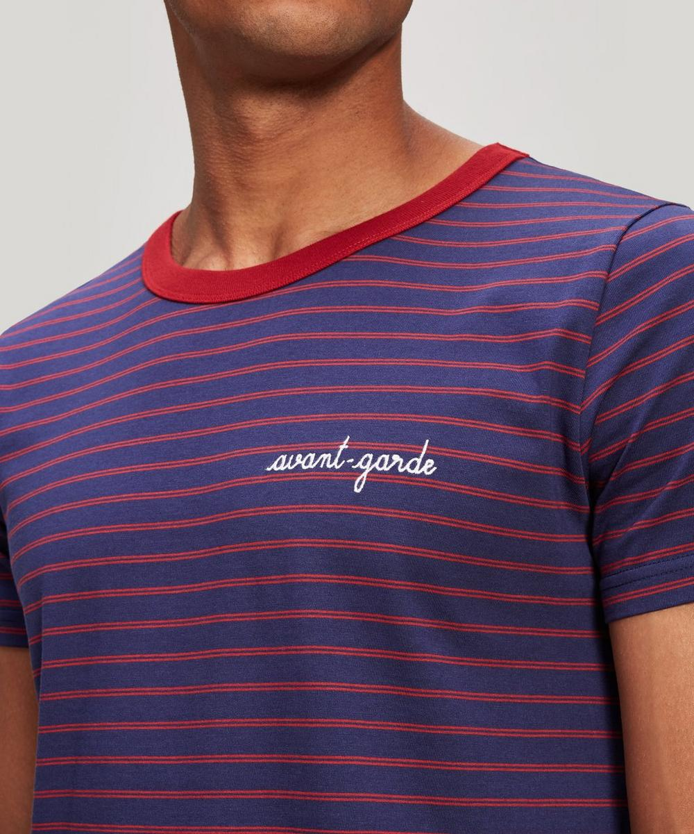 Avant Garde Embroidered Striped Cotton T-Shirt
