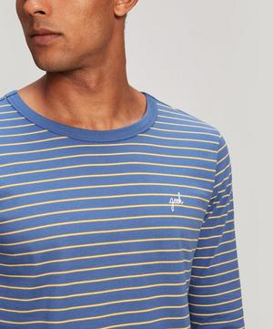 Geek Embroidered Striped Cotton T-Shirt