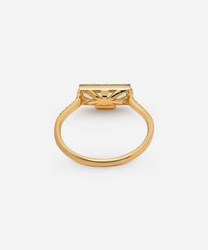 Gold Baguette Cut Green Amethyst and Diamond Ring