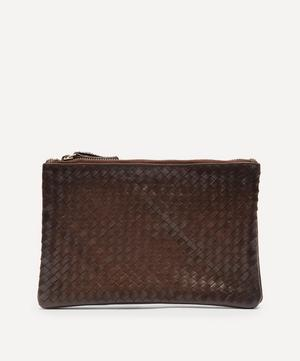 Interlaced Twin Pochette Woven Leather Cross-Body Bag