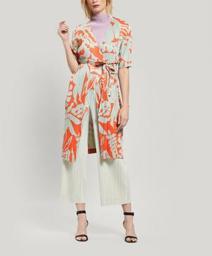 Pleated Swimming Print Wrap-Around Jacket