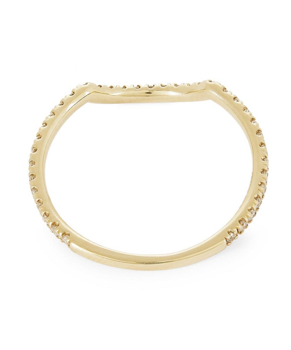 Gold Eleonore Pavé Scallop White Diamond Ring