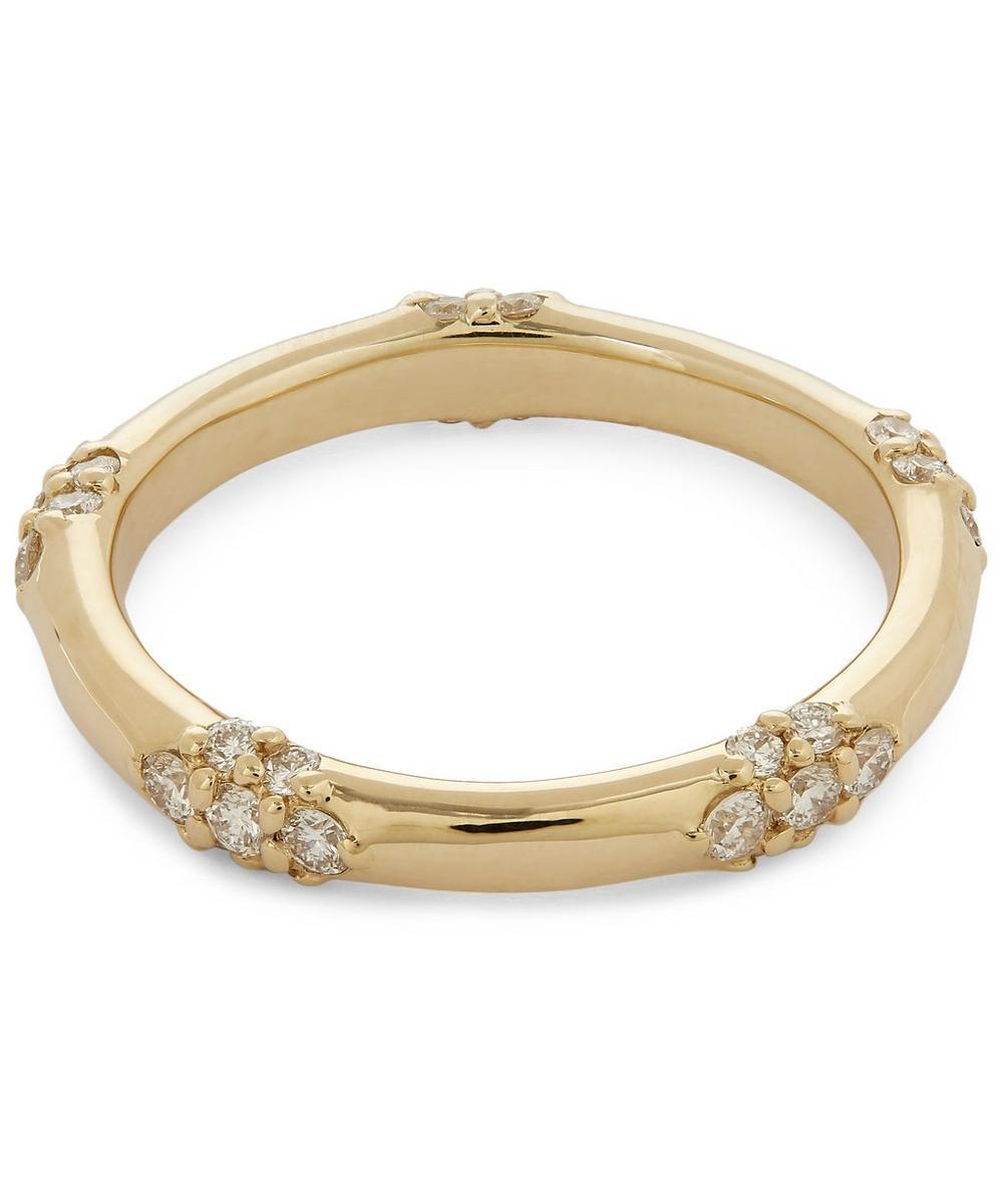 Gold Celestine White Diamond Ring