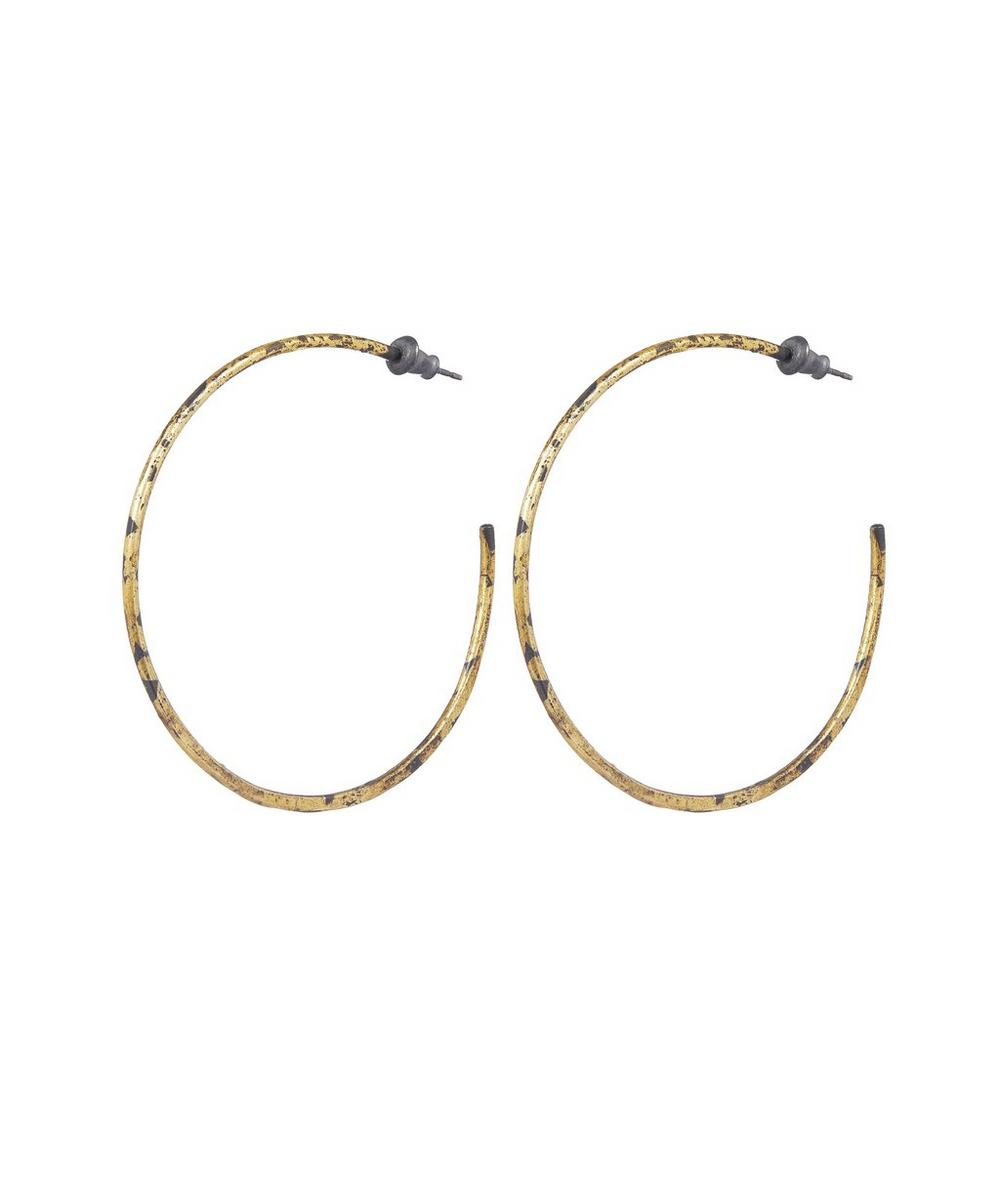 Oxidised Silver Large Sickle Hoop Earrings