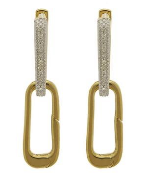 Gold Vermeil Alta Capture Charm Diamond Drop Earrings