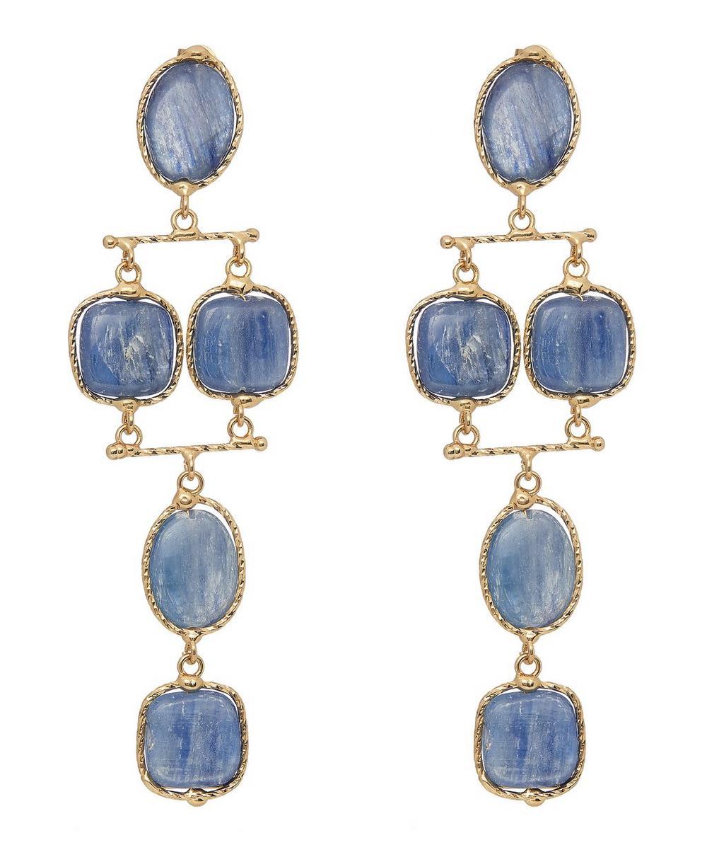 Gold-Tone Nettare Blue Quartz Tiered Drop Earrings