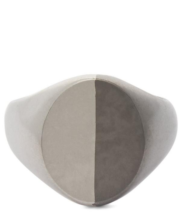 Two-Tone Silver Signet Ring