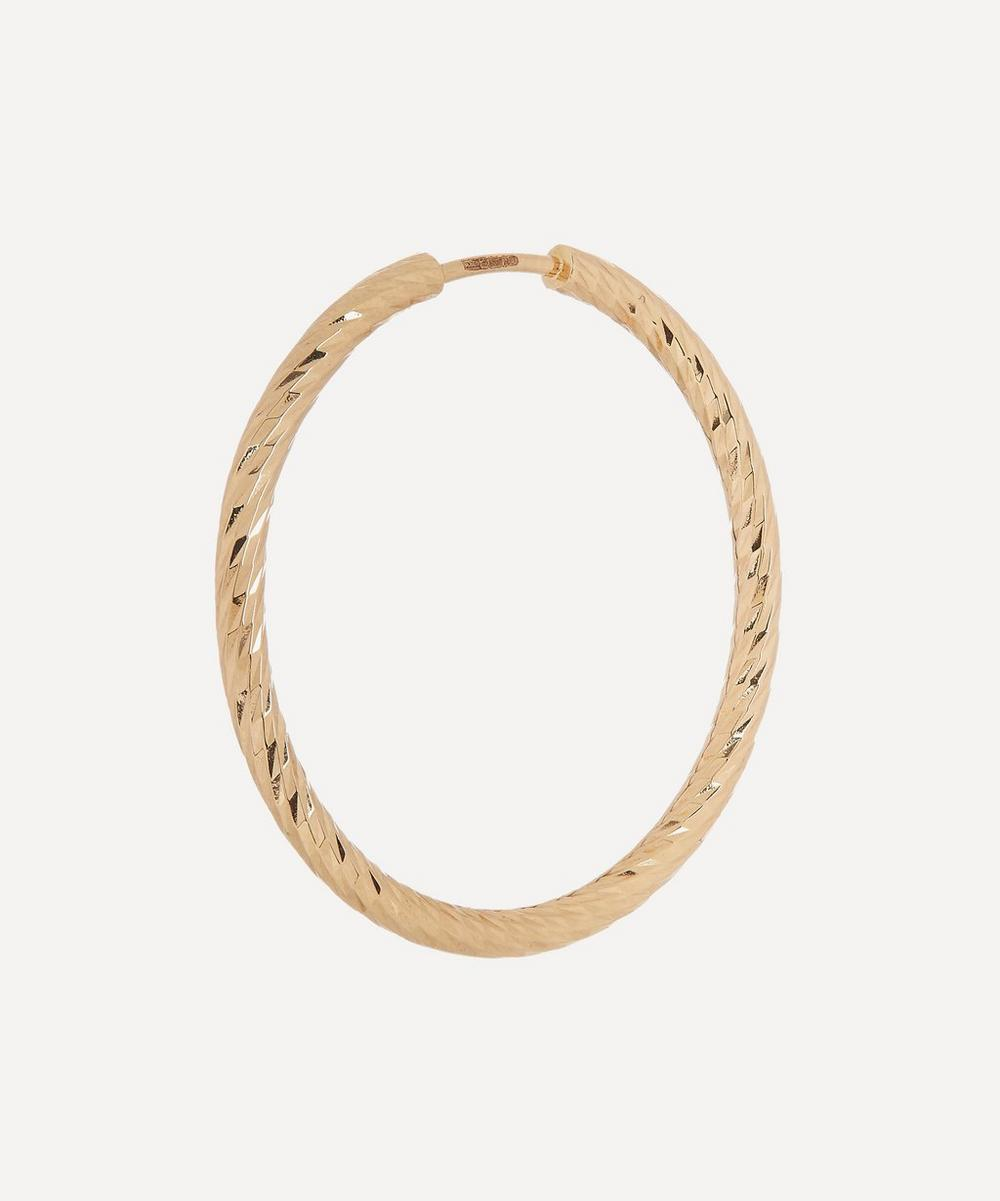 Gold Diamond Cut Alba 25 Hoop Earring