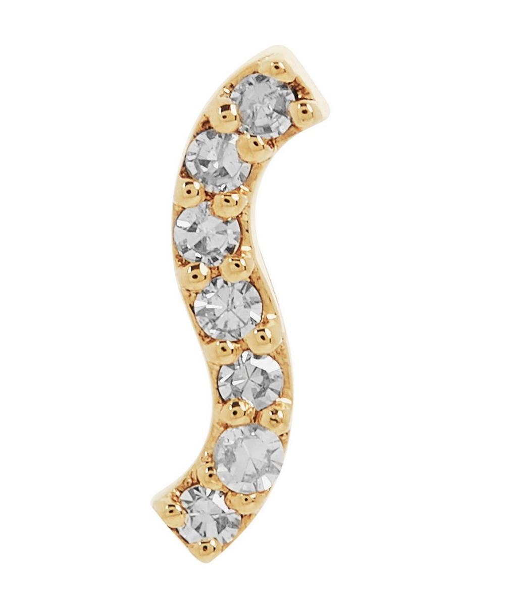 Gold Wave Diamond Labret Earring