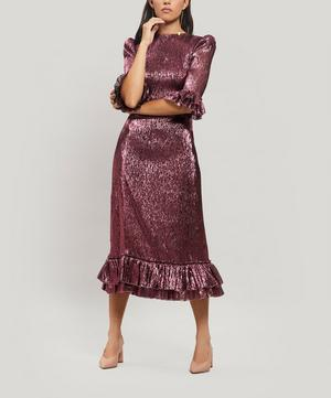 Falconetti Metallic Silk-Blend Midi-Dress