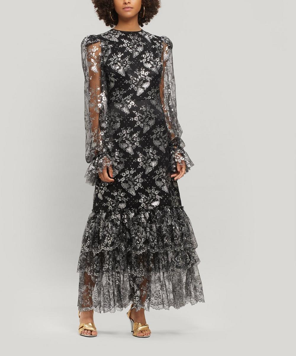 The Vampire's Wife Dresses THE LACE NIGHT BIRD LAYERED SILK MAXI-DRESS