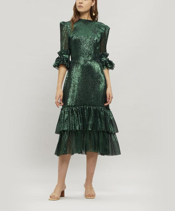 The Veneration Metallic Midi-Dress
