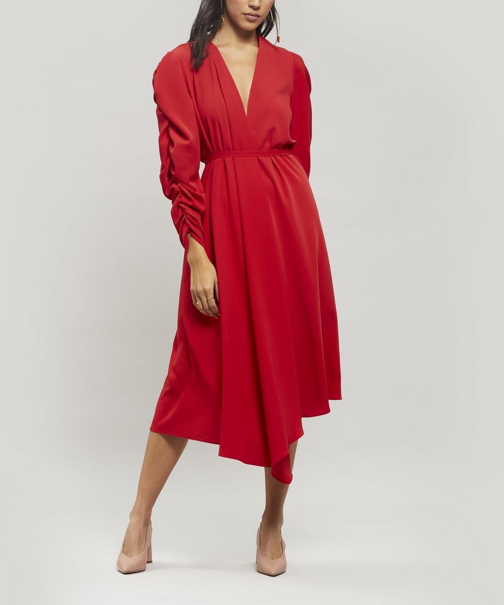 A.w.a.k.e. Dresses GATHERED-SLEEVE ASYMMETRIC WRAP DRESS