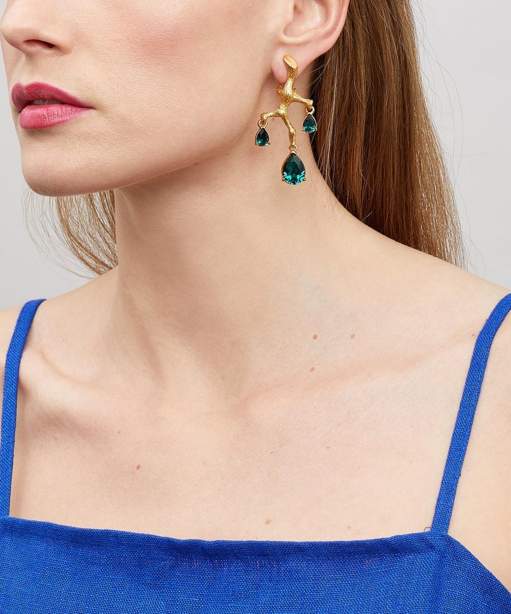 Runway Branch Crystal Clip-On Earrings