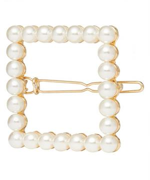 Leda Faux Pearl Beaded Barrette Hair Clip