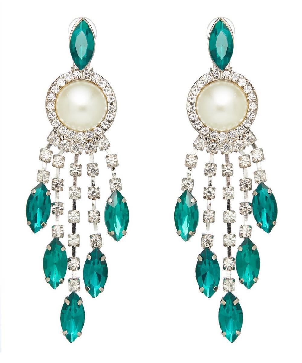 Belva Crystal and Faux Pearl Drop Earrings
