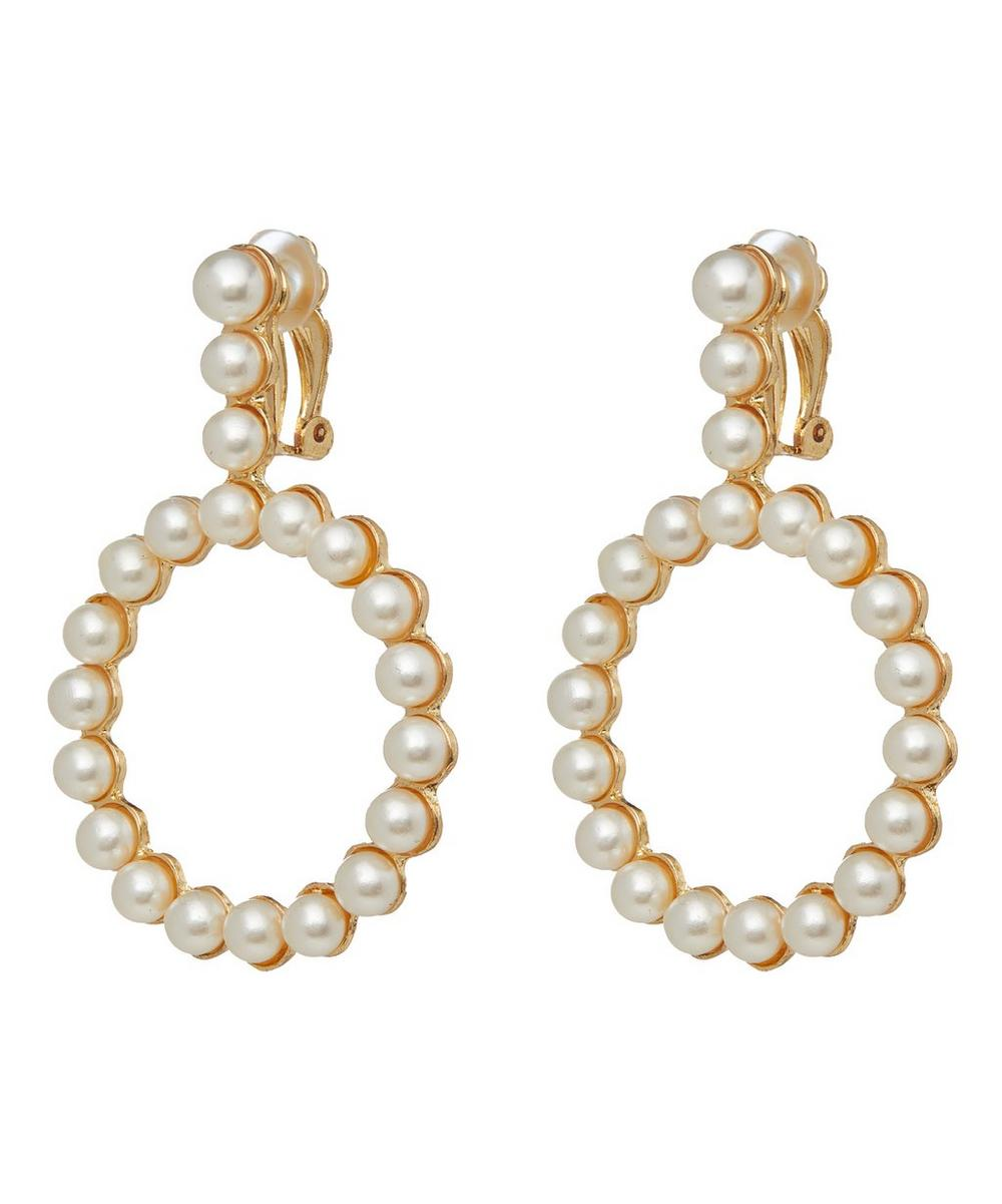 Deva Faux Pearl Beaded Clip-On Drop Earrings