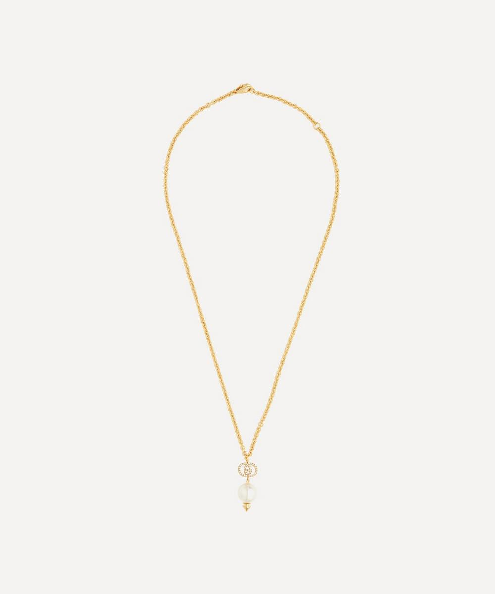 Gold-Tone Crystal Logo Pearl Pendant Necklace