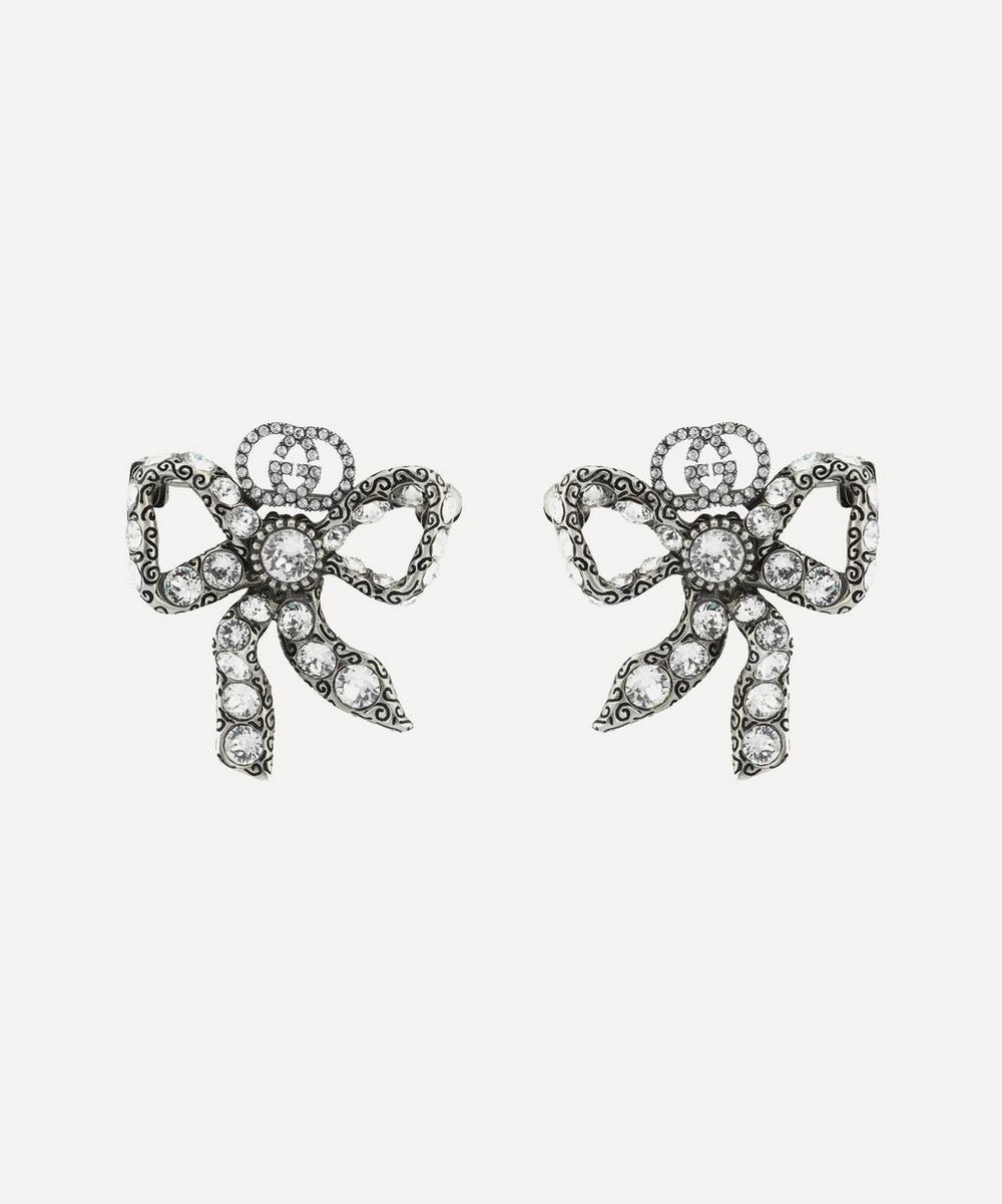 Silver-Tone Crystal Bow Stud Earrings