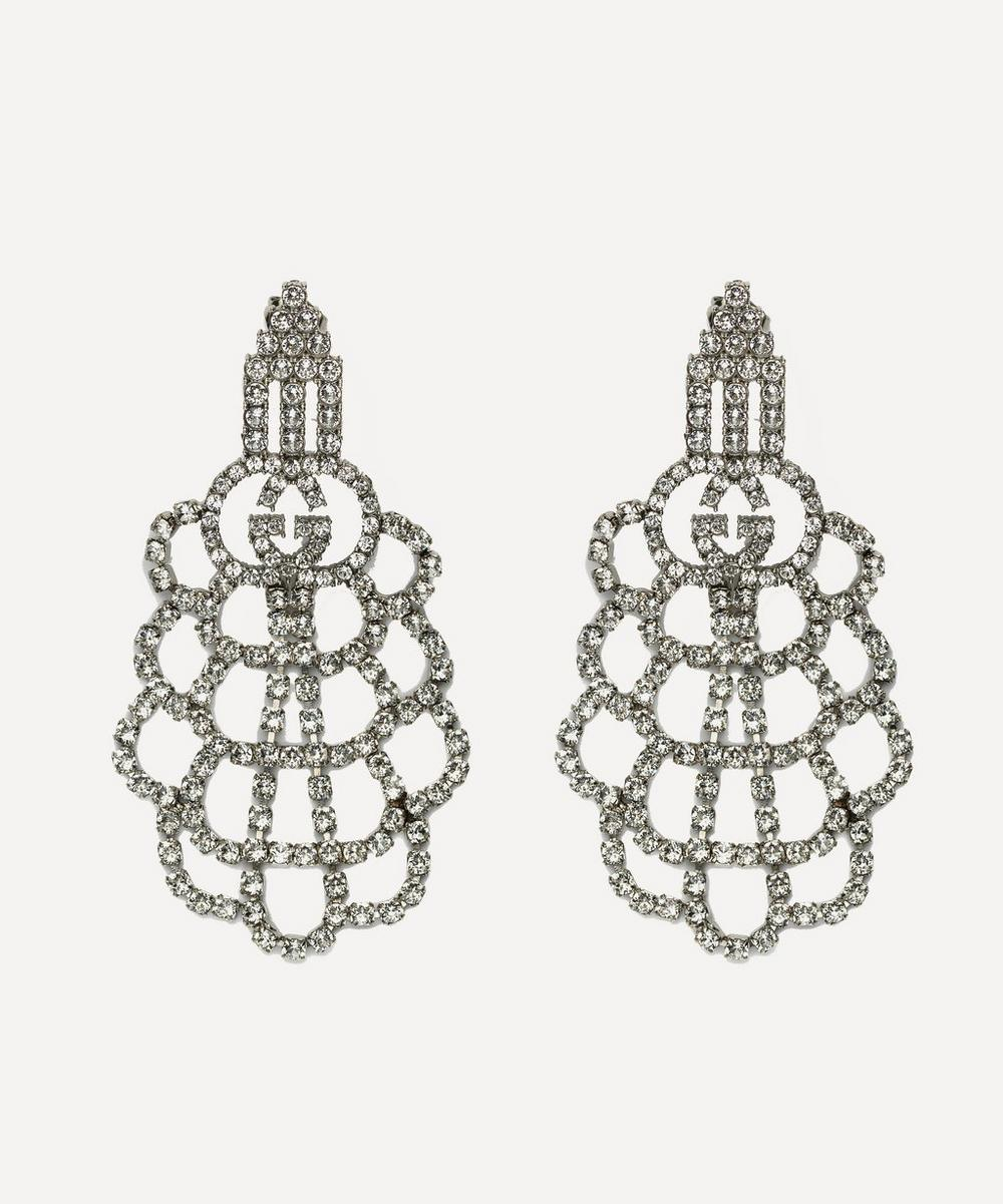 Silver-Tone Crystal Logo Drop Earrings