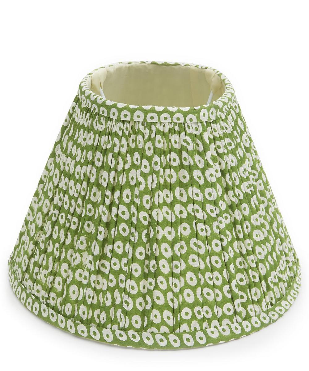 Green Dot Block-Printed Cotton Lampshade