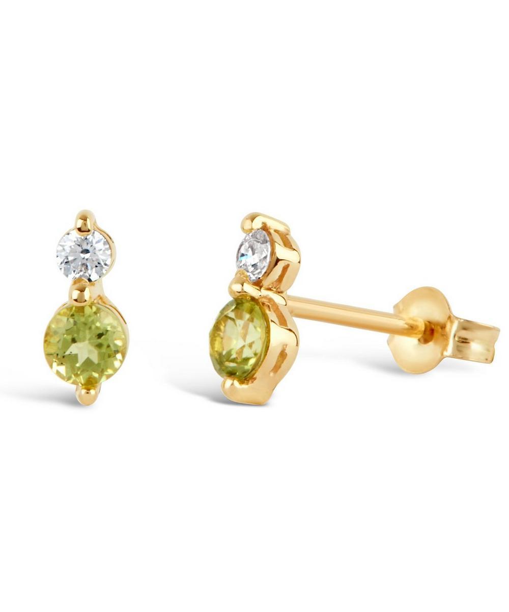 Gold Shuga Diamond and Peridot Stud Earrings