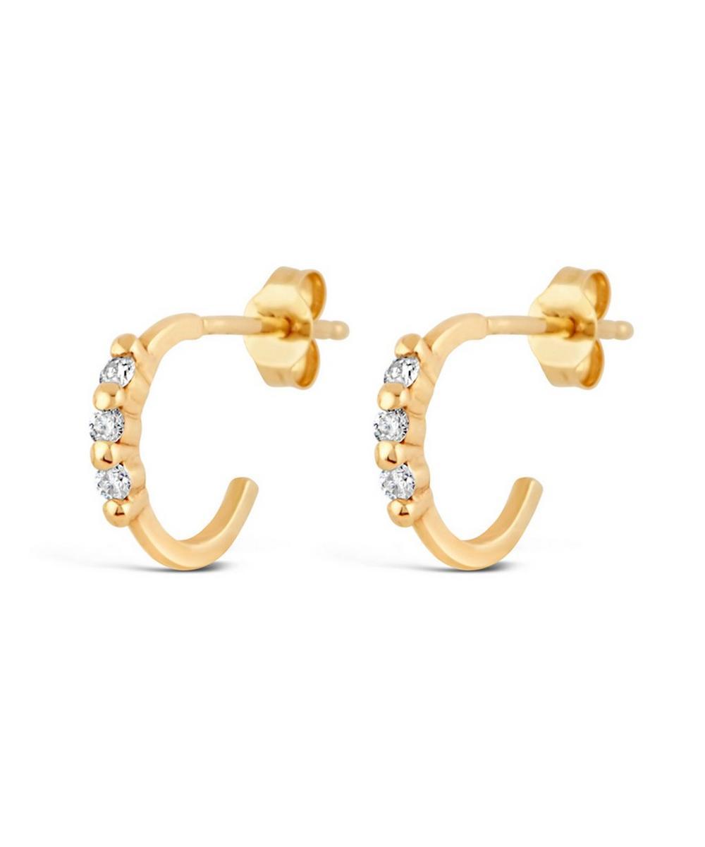 Gold Shuga Triple Diamond Mini Hoop Earrings