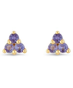 Gold Shuga Tanzanite Trillion Stud Earrings
