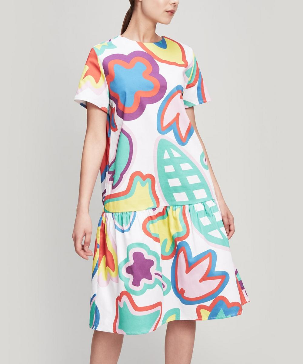Rainbow Floral T-Shirt Midi-Dress