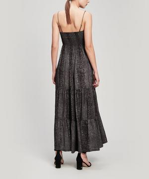 Python-Print Ruched Bandeau Maxi-Dress