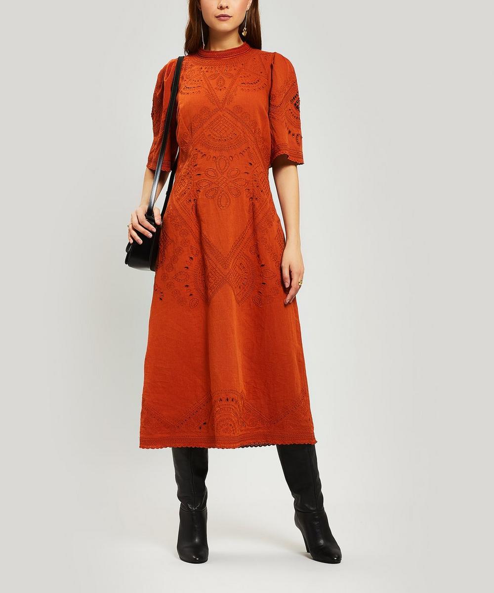 Agatha Embroidered Cotton Midi-Dress