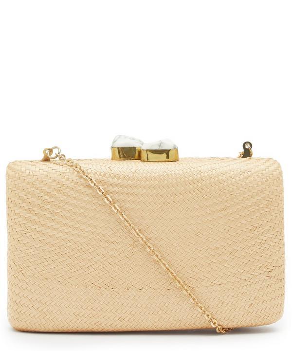 Jen White Stone Clasp Straw Clutch Bag
