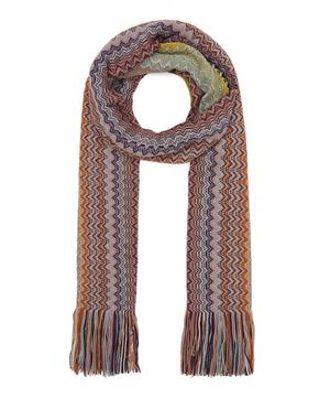 Thin Stripe Tassel Knitted Wool-Blend Scarf