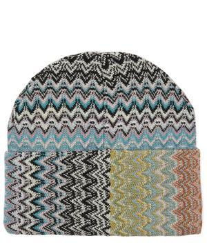 Zig-Zag Stripe Wool-Blend Beanie Hat