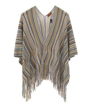 Thin Zig-Zag Stripe Knitted Wool-Blend Cape
