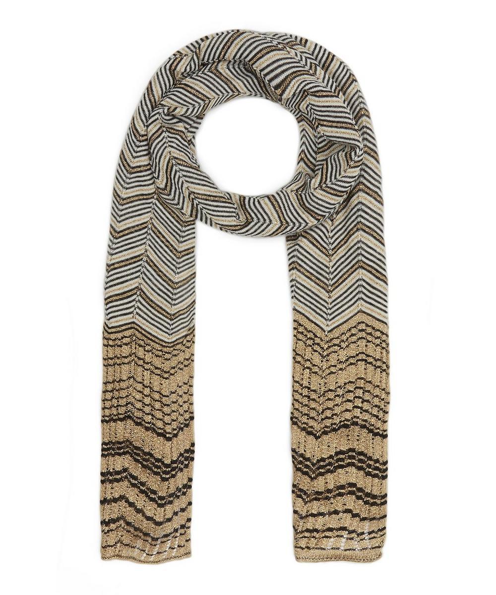Block End Zig-Zag Stripe Wool-Blend Scarf